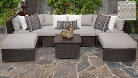 Barbados BARBADOS-07a-ASH 7-Piece Wicker Patio Set 07a with 2 Corner Chairs  2 Armless Chairs  2 Ottomans and 1 End Table -Wheat and Ash