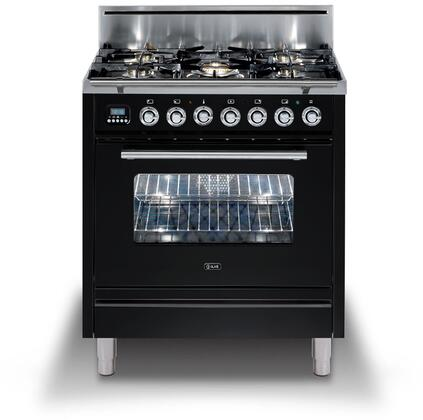 Ilve Professional Plus UPW76DVGGNX Freestanding Gas Range Black, UPW76DVGGNX Professional Plus Range