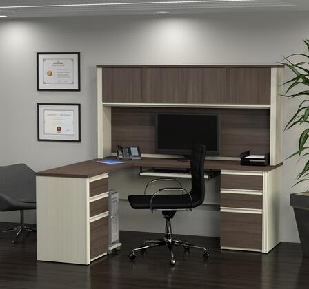 Bestar Furniture Prestige Plus 9985252 Desk, prestige+ white chocolat antigua 99852 52 room