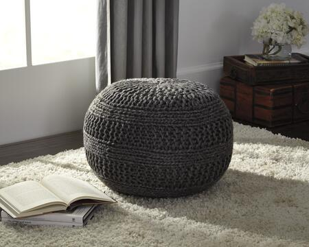 "Benedict A1000559 14"""" Pouf Ottoman with Rib Knit Texture  ESP Beads and Made of Wool in"" 666746"