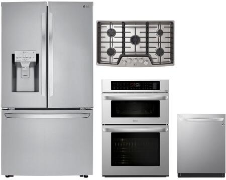 4 Piece Kitchen Appliances Package with LRFXC2406S 36″ French Door Refrigerator  LWC3063ST 30″ Double Wall Oven/Microwave Combo  LSCG367ST 36″ Gas