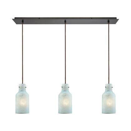 45345/3LP Weatherly 3 Light Linear Pan Pendant in Oil Rubbed Bronze with Chalky Seafoam