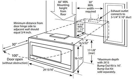 GE Profile  PVM9005 Over The Range Microwave , Dimension Diagram