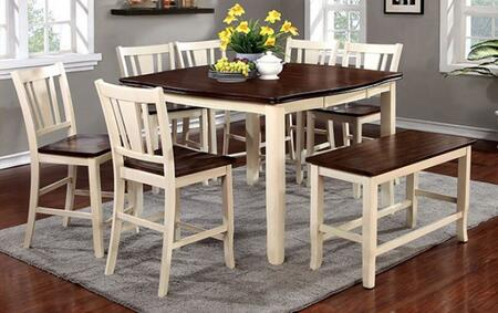 Furniture of America Dover II CM3326WCPT8PCPBN Dining Room Set Multi Colored, main image