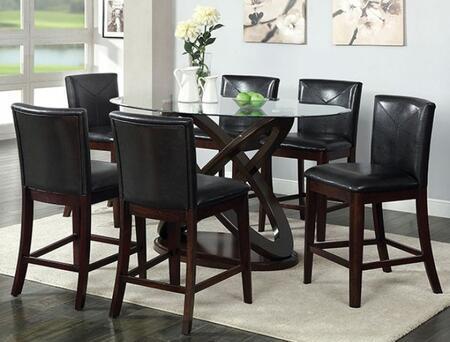 Furniture of America Atenna II CM3774PT6PC Dining Room Set Brown, main image