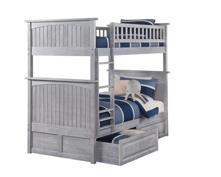 AB59128 Nantucket Bunk Bed Twin over Twin with Raised Panel Drawers in