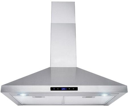 RH0461 30″ Convertible Wall Mount Range Hood with 400 CFM  LED Lighting  Mesh Filters and Touch Controls in Stainless