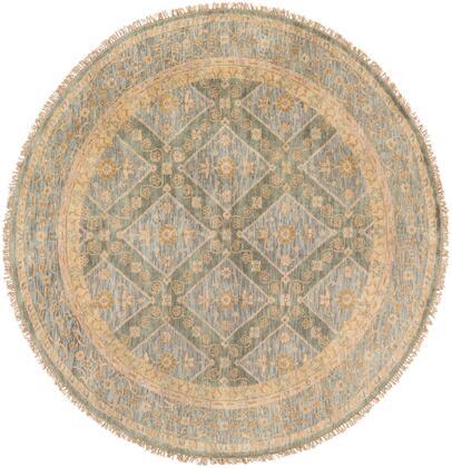 Zeus ZEU-7826 8′ Round Traditional Rugs in Sage  Denim  Khaki