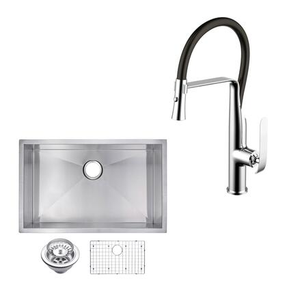 CF511-US-3019A 30″ X 19″ Zero Radius Single Bowl Stainless Steel Hand Made Undermount Kitchen Sink With Drain  Strainer  Bottom Grid  And Single Hole