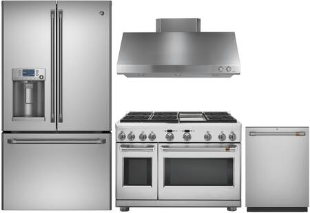 4 Piece Kitchen Appliances Package with CFE28TSHSS 36″ French Door Refrigerator  C2Y486P2MS1 48″ Dual Fuel Range  CV48SSLSS 48″ Wall Mount Ducted