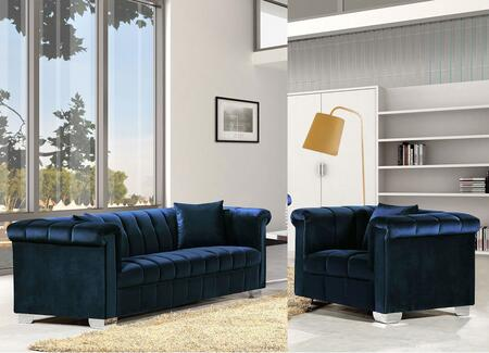 Meridian Kayla 6152PCARMKIT1 Living Room Set Blue, 2 PC Set