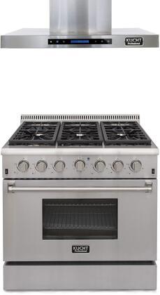"Professional Series 2-Piece Kitchen Appliances Package with KRD366FLP 36"" Dual Fuel Liquid Propane Range and KRH3604U 36"" Chimney Wall Mount Hood in"