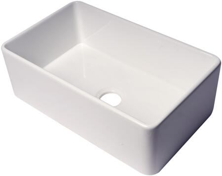 ABF3018-W ALFI 30″ White Thin Wall Single Bowl Smooth Apron Fireclay Kitchen Farm Sink in