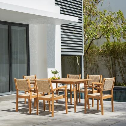 V1950SET2 Chesapeake Outdoor Natural 7-Piece Wood Dining Set with Table and 6x Arm Chairs in Brush Finishing/Light