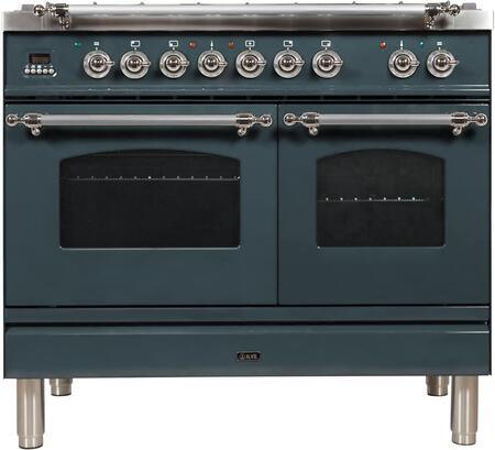 Ilve Nostalgie UPDN100FDMPGUXLP Freestanding Dual Fuel Range , Blue Grey Custom RAL Color
