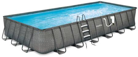 NB2134 Dark Wicker 12′ x 24′ Rectangular 52″ Deep Metal Frame Above Ground Pool Package with SkimmerPlus Filtration System  Ladder  Cover and