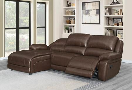 600357A 3 Piece Motion Sectional Sofa in Chestnut