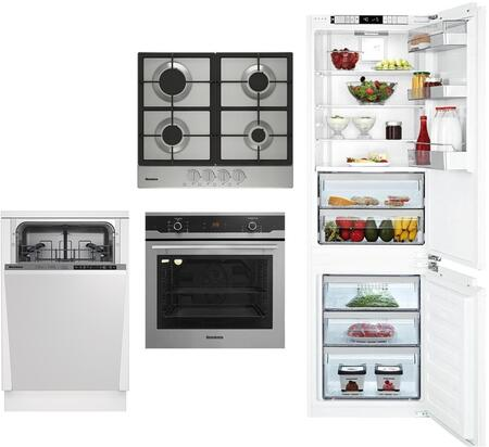 4 Piece Kitchen Appliances Package with BRFB1051FFBIN 22″ Bottom Freezer Refrigerator  BWOS24110SS 24″ Electric Single Wall Convection Oven