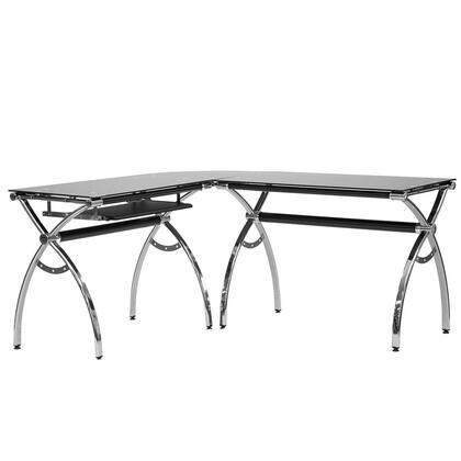 RTA-0039LC-BK L-Shaped Colored Tempered Glass Top Corner Desk with Pull Out Keyboard Tray  in