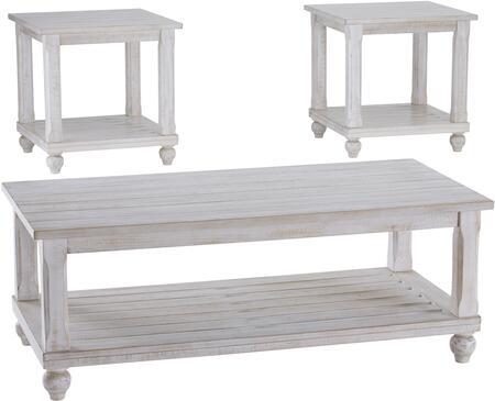 Signature Design by Ashley Cloudhurst T48813 Living Room Table Set White, Main Image