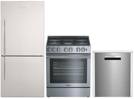 """3-Piece Kitchen Appliances Package with BRFB1812SSN 30"""" Bottom Freezer Refrigerator BGR30522SS 30"""" Slide-in Gas Range and DWT81800SS 24"""" Built In"""