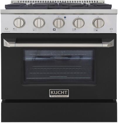KNG301-K 30″ Black Freestanding Natural Gas Range with 4 Burners  4.2 cu. ft. Capacity Oven  Manual Convection Cooking Mode  Blue Porcelain Oven