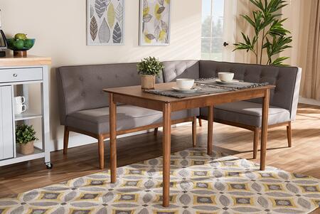 BBT8051-GREY/WALNUT-3PCDININGNOOKSET Arvid Mid-Century Modern Gray Fabric Upholstered 3-Piece Wood Dining Nook