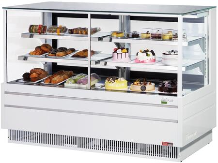 Turbo Air TCGB72UFCOWN Display and Merchandising Refrigerator White, TCGB72UFCOWN Angled View