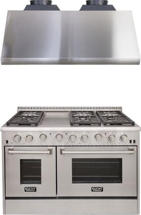 """Professional Series 2 Piece Kitchen Appliances Package with KRD486F 48"""" Natural Gas Dual Fuel Range and KRH4805U 48"""" Canopy Pro Range Hood in"""