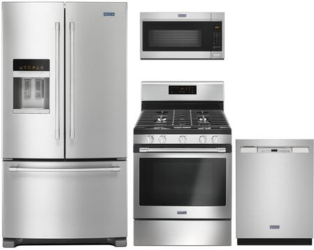 4 Piece Kitchen Appliances Package with MFI2570FEZ 36″ French Door Refrigerator  MGR6600FZ 30″ Gas Range  MDB4949SHZ 24″ Built In Full Console