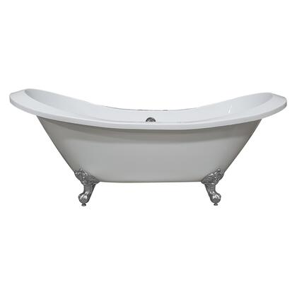 ADESXL-DH-CP Extra Large Acrylic Double Slipper Clawfoot Tub  Polished Chrome Feet and Deck Mount Faucet