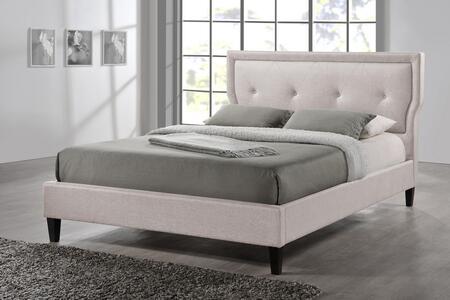 Wholesale Interiors Baxton Studio Marquesa Wood BBT6421QUEENLIGHTBEIGE Bed White, 1