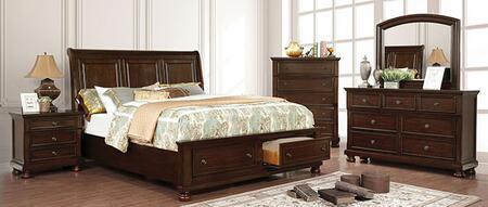 Furniture of America Castor CM7590CHCKBEDNSCHDRMR Bedroom Set Brown, CM7590CH-CK-BED-NSCHDRMR