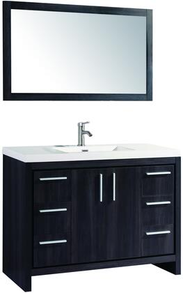 Miami Collection MTD-YBC306-48BW 48″ Single Sink Bathroom Vanity Set in Black