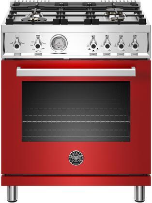 Bertazzoni Professional PROF304GASROTLP Freestanding Gas Range Red, Main Image