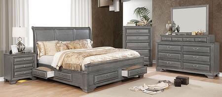 Furniture of America Brandt CM7302GYEKBEDNSCHDRMR Bedroom Set Gray, CM7302GY-EK-BED-NSCHDRMR