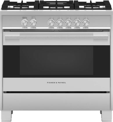Fisher Paykel Contemporary OR36SDG4X1 Freestanding Gas Range Stainless Steel, Front view