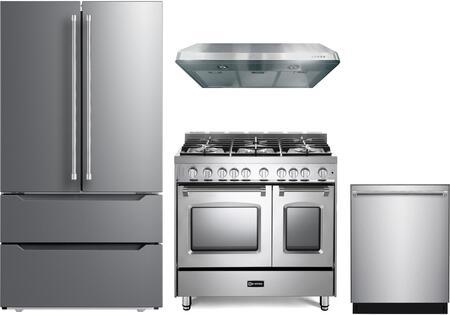 4 Piece Kitchen Appliances Package with VERF36CDSS 36″ French Door Refrigerator  VPFSGG365DSS 36″ Gas Range  VEHOOD3610 36″ Under Cabinet Range Hood