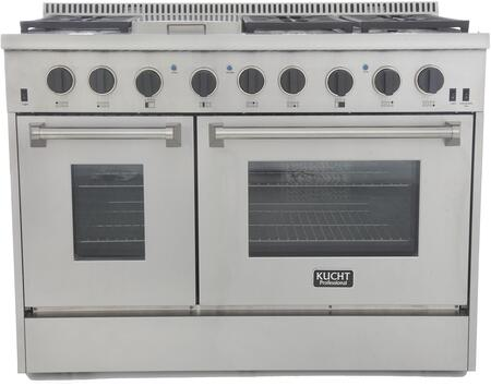 KRG4804U-K 48″ Freestanding Natural Gas Range with 4.2 cu. ft. Convection oven and 2.5 cu. ft. Secondary Oven  6 Burners  Griddle  Blue Porcelain
