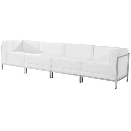 ZB-IMAG-SET8-WH-GG HERCULES Imagination Series White Leather 4 Piece Lounge