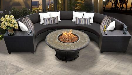 Barbados Collection BARBADOS-06a-BLACK Barbados 6-Piece Patio Set 06a with 1 Armless Chair   2 Cup Table   2 Curved Armless Chair   1 Balmoral Fire