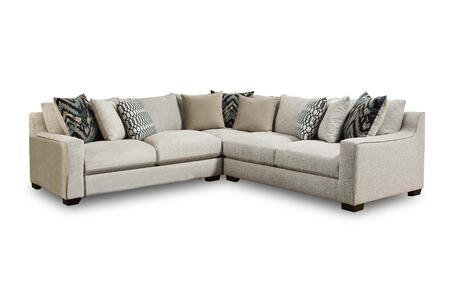 Minnesota Collection 181400-2005-3PC-SEC-HP 113″ 3 PC Sectional with Decorative Pillows  Track Arms  Block Feet  Homespun Platinum Polyester Fabric