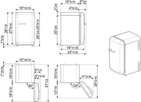 Smeg  FAB5URRD3 Compact Refrigerator , 1