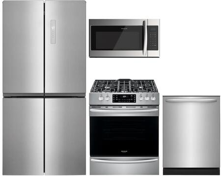 4 Piece Kitchen Appliances Package with FFBN1721TV 33″ French Door Refrigerator  FGGH3047VF 30″ Slide-in Gas Range  FFMV1745TS 30″ Over the Range