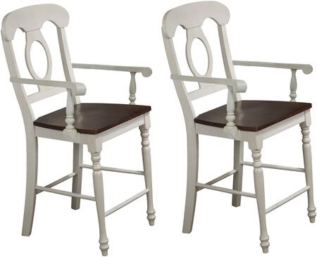 DLU-ADW-B50A-AW-2 Andrews Collection Barstool with Footrest  Turned Legs  Wood Construction  Armrest and Wooded Seat  in Antique White and