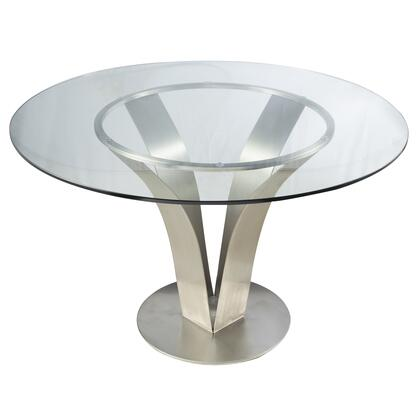 Armen Living Cleo LCCLDIB201TO Dining Room Table Silver, LCCLDIB201TO