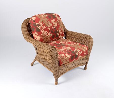 Sea Pines Collection LEX-C1-M-MONTF Club Chair in Mojave Wicker and Montfleur Sangria Fabric