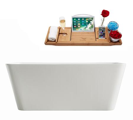 M-2061-59FSWH-DM 59″ Soaking Freestanding Tub and Tray With Internal Drain in White