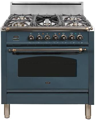 Ilve Nostalgie UPN90FDVGGGUYLP Freestanding Gas Range Blue, Blue Grey Custom RAL Color