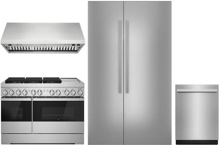 4 Piece Kitchen Appliances Package with JS48NXFXDE 48″ Side by Side Refrigerator  JDRP548HM 48″ Dual Fuel Gas Range  JXW9048HP 48″ Wall Mount Ducted